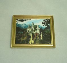 Dollhouse Miniature Medievel Castle Framed Picture  Miniatures for Doll House