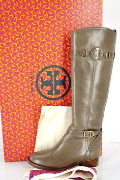 Tory Burch Calista Tall Leather riding boots size 5 Asphalt Gray ** Check this awesome product by going to the link at the image.