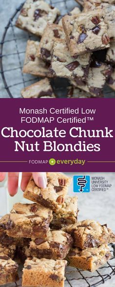 These Low FODMAP Chocolate Chunk Nut Brownies are made with gluten free batter. They're perfect for a treat on the go!