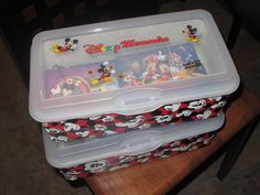 Idea: Take a shoe box or similar sized container, decorate it and use it to store all those small souvenirs from your Disney trip - autograph books, smashed pennies, pins, maps, etc. My kids love having everything in one place to sit and look through and nothing gets lost! There's even Mickey and Minnie Duct Tape out there which works perfectly for such a project! :)