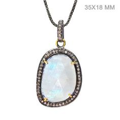 Vintage Look 925 Sterling Silver Pave Diamond 14k Gold Moonstone Pendant Jewelry…