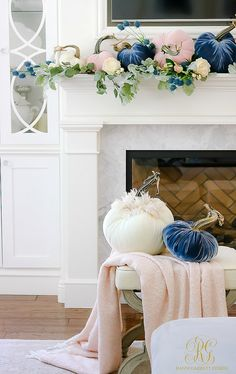 Welcoming Fall Home Tour - Fall Decorating Ideas - Randi Garrett Design - fall decorating ideas – velvet pumpkins – mantelscape - Blue Fall Decor, Fall Mantle Decor, Modern Fall Decor, Autumn Theme, Fall Home Decor, Unique Home Decor, Cheap Home Decor, Diy Home Decor, Velvet Pumpkins