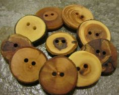 Wooden Button Variety Bag. 10 Buttons. 1 Inch To Just Over 1.25 Inches Wide.