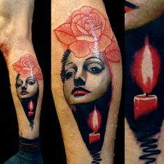 Abstract portrait tattoo flower and candle in The darkness