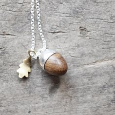 sterling silver and gold vermeil necklace with acorn and oak leaf pendant