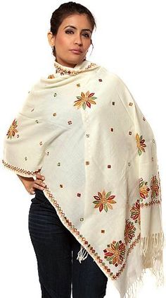 Exotic India Ivory Stole with Ari Embroidered Flowers and Mirrors - Ivory Exotic India. $140.00