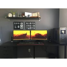 """1,388 Likes, 3 Comments - Mal - PC Builds and Setups (@pcgaminghub) on Instagram: """"An awesome dual monitor setup! I love how the yellow contrasts on the black. By: u/Quinton_W.…"""""""