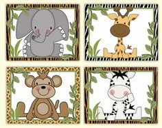 Safari Animals Prints wall art for baby girl jungle nursery or childrens pink brown floral room decor. Six different animals; giraffes, monkey, elephant, alligator, zebra, and a lion. Choose 4 prints of your choice OR purchase all six and save. Add matching wallpaper border decals and murals.  ♥ Available in 11x 14 and 13x 19. Please contact me for price.  **If you choose 4 prints, please leave your choice at the time of payment. If I dont receive a message, I will send the ZEBRA, MONKEY…