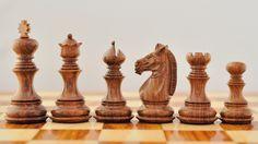 Wooden Handcarved Weighted Staunton Chess Set Shesham Wood 4Q