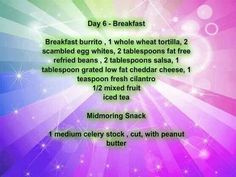 Day 6 Meal Planning 1200 Calories Breakfast