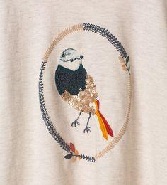 Bild 5 von Shirt mit gesticktem Vogelmotiv von Zara