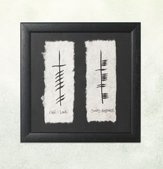 """Ogham Love & Happiness Print: A wish across time. """"Gra"""" (Love) and """"Sonas"""" (Happiness), hand-painted in the Ogham alphabet. Small Celtic Tattoos, Irish Tattoos, Ogham Tattoo, Tribal Sleeve Tattoos, Wing Tattoos, Ogham Alphabet, Celtic Tree, Baby Fairy, Irish Jewelry"""