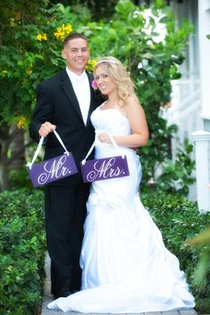 Wedding Signs Mr and Mrs Wedding Chair Signs by OurHobbyToYourHome,