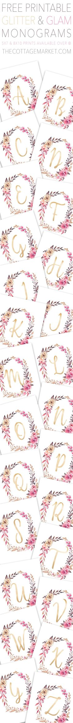Free Printable Glitter and Glam Monograms from The Cottage Market