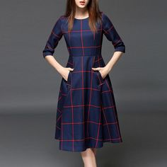 Pockets Color Block Midi Dress Work outfits for dresses casual outfits classy fashions lovely 2019 fall dress outfits Vintage Midi Dresses, Cute Dresses, Beautiful Dresses, Casual Dresses, Dresses With Sleeves, Modest Dresses, Dress Sleeves, Party Wear Dresses, Knee Length Dresses
