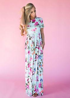 Mint Bethany Floral Maxi Dress