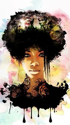 55 Amazing Black Hair Art Pictures and Paintings