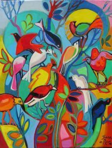 Birds dance in the wind. They can party by just fluttering their wings in the trees In The Tree, Wings, Trees, Backyard, Dance, Party, Painting, Dancing, Patio