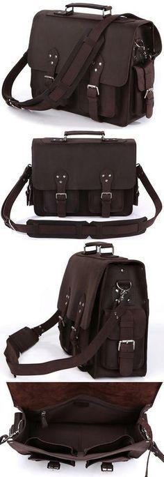 Men's Vintage Handmade Leather Briefcase / Travel Bag / Messenger Bag