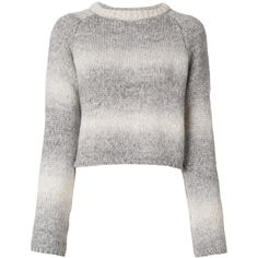 Giada Benincasa faded striped jumper ($237) ❤ liked on Polyvore featuring tops, sweaters, grey, stripe sweater, striped top, striped crop tops, ribbed crop top and grey ribbed sweater