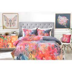 Stephanie Corfee The Bursting Heart Floral Duvet Cover (Twin/Twin Extra Long) Blue Floral - Deny Designs, Multicolored Pink