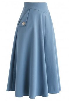 Classic simplicity - A-line midi skirt in blue - Retro, Indie and Unique F .- Classic simplicity – A-line midi skirt in blue – retro, indie and unique fashion Skirt Outfits Modest, Midi Skirt Outfit, Outfits Casual, Modest Dresses, Boho Outfits, Dress Skirt, Vintage Outfits, Fashion Outfits, Midi Skirts