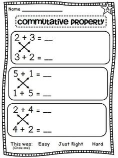 Printables Commutative Property Of Addition Worksheets 3rd Grade worksheets commutative property and definitions on pinterest of addition differentiated worksheets