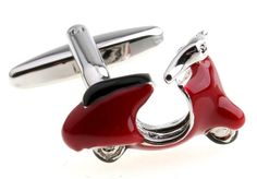 Need a Roman holiday? Then these are the cufflinks for you. Daydream about cruising the streets of Italy with these funky red scooter cufflinks. Created in polished rhodium and highlighted with red and black enamel, these cufflinks are simply stunning. They are the perfect addition to any cufflink collection.
