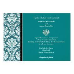 Teal Classic Damask Wedding Invitation