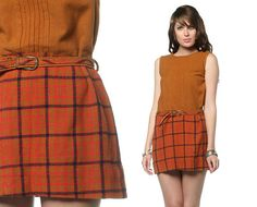 39 inch hips. 1960s Dress Plaid Mini Mod Indie 60s High Waist Pintuck by oldage, $55.00