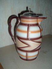 Art Deco Kakaokanne Spritzdekor mit Deckel, selten