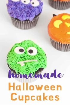 Super fun diy halloween cupcakes! The perfect dessert for the party! Make any face you want from monsters to jack-o-lanterns. Halloween Party Treats, Halloween Desserts, Halloween Cupcakes, Diy Halloween, Love Holidays, Fun Diy, Sprinkles, Monsters, Lanterns