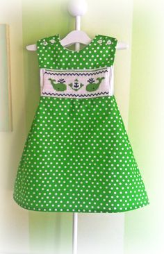 Hand Smocked Green Polka Dot Whale Dress. Smocking plate is 'Etta's Whales' with center variation. Size 18 months. HCC Summer 2014.