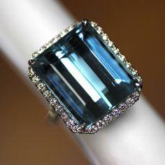 GIA Certified 18k White gold Natural Dark Blue Aquamarine & Diamond ring 24.88ct #HALO