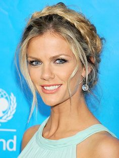 Romantic with a touch of sexy, a braided updo like Brooklyn Decker's is the perfect fit for anything from a casual date night to a glamorous wedding.  beauty, braids, Brooklyn Decker, celeb hair, celeb style-pin it from carden