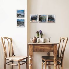 Shop 'Postcard From A Road Trip' by South African artist Deidre Maree, acrylic painting on boxed canvas size 20 x 20 x available to buy online. Hanging Artwork, Art For Sale Online, South African Artists, Wishbone Chair, Canvas Size, Landscape Paintings, Road Trip, Display, Inspiration