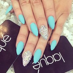 silver and light blue nail art