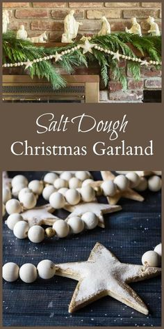 DIY Home Decor Ideas : Illustration Description Learn how to make this salt dough Christmas garland combined with wooden beads to create a bright and rustic decoration for your holiday home. Diy Christmas Garland, Christmas Holidays, Salt Dough Christmas Decorations, Christmas Tree, Christmas 2019, Natural Christmas, Homemade Christmas, Christmas Projects, Holiday Crafts