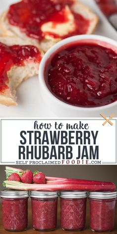 Make homemade Strawberry Rhubarb Jam from fresh rhubarb, strawberries, sugar and lemon without pectin! Blueberry Rhubarb Jam, Strawberry Rhubarb Recipes, Strawberry Rhubarb Jam, Blueberry Jam Recipes, Rhubarb Jam Recipes Canning, Rhubarb Jam Recipes Easy, Recipes With Strawberries, Plum Jelly Recipes, Rhubarb Jelly