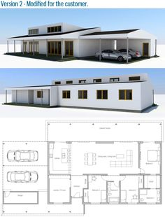 House Plan Modern House Plan to Modern Family. Contemporary House Plans, Modern House Plans, Small House Plans, Best House Plans, Dream House Plans, House Floor Plans, 2 Bedroom House Plans, Ranch Style Homes, Sims House