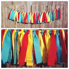 Maybe something like this, more muted wedding colors? Maybe longer? Carnival Rag Tie Garland by jpurifoy on Etsy