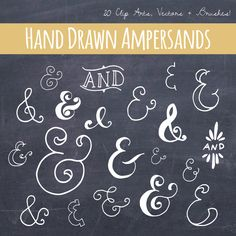 "Chalkboard Ampersand Symbol Clip Art // PNG Files Photoshop Brushes // Hand Drawn Calligraphy Typography Lettering // ""And"" Vector Word Art Tafel kaufmännisches und ClipArt // von thePENandBRUSH Chalkboard Fonts, Chalkboard Designs, Chalkboard Drawings, Chalkboard Paper, Chalk Writing, Chalkboard Ideas, Photoshop Brushes, Chalk Lettering, Chalkboard Art"