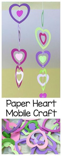 Easy Valentine's Day Craft for Kids: Colorful Paper Heart Mobile ~ http://BuggyandBuddy.com