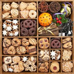 Photo about Assorted Christmas cookies in wooden box with baking items. Image of celebration, holly, collection - 30556983 Christmas Cookie Boxes, Christmas Sweets, Christmas Cooking, Cookies Cupcake, Holiday Cookies, Cupcakes, Cookie Gifts, Food Gifts, Cookie Gift Boxes