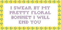 Firefly Bonnet quote Cross-stitch pattern