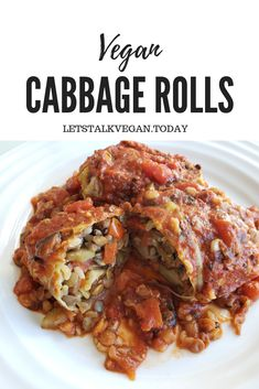 Cabbage rolls made with a vegan twist: steamed cabbage stuffed with hearty lenti. - Cabbage rolls made with a vegan twist: steamed cabbage stuffed with hearty lentils, brown rice, mus - Vegan Dinner Recipes, Veggie Recipes, Whole Food Recipes, Cooking Recipes, Healthy Recipes, Cooking Games, Cooking Tips, Delicious Recipes, Diet Recipes