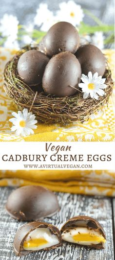 Sweet, creamy fondant filling encased in rich chocolate makes these Vegan Creme Eggs irresistible! A copycat version of that oh so popular Easter treat from Cadbury minus the egg white, cow's milk, natural flavours, emulsifiers, high fructose corn syrup &