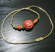 Vintage CINNABAR CHINESE Deep Carved Necklace by JeweledLuv, $50.00