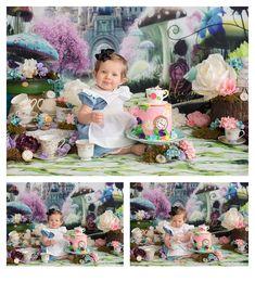 Piper celebrates her first birthday at Dolci Momenti Photography. Alice in Wonderland cake smash – Scranton, Pennsylvania newborn and children portrait photographer