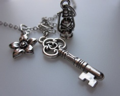 silver key charm necklace